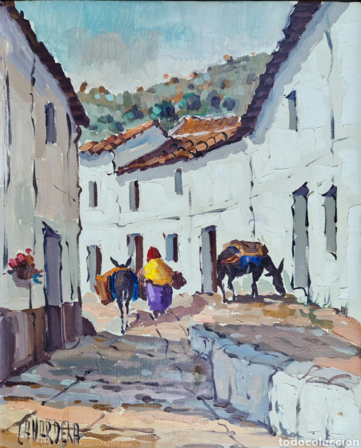 PINO LA VARDERA, PRECIOSA PINTURA VINTAGE DE TORREMOLINOS, FIRMADA. (Arte - Pintura - Pintura al Óleo Contemporánea )