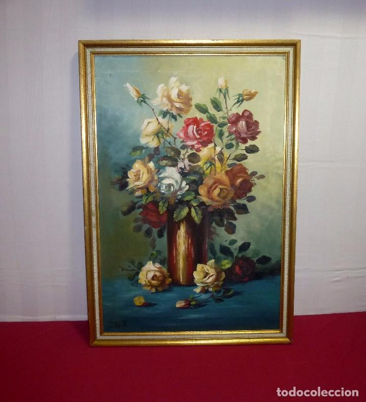 OLEO SOBRE LIENZO - BODEGON DE FLORES - FIRMADO FAUSTO - MARCO DE 81 X 56 CM.PINTURA 74 X 49 CM. (Arte - Pintura Directa del Autor)