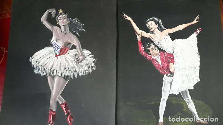 Arte: lote de tres temperas ,o wash años 40 - Foto 2 - 206299643