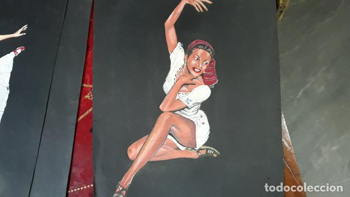 LOTE DE TRES TEMPERAS ,O WASH AÑOS 40 (Arte - Pintura - Pintura al Óleo Moderna sin fecha definida)