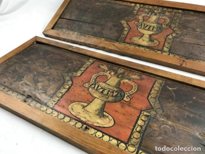 MAGNIFICA PAREJA DE ARTESONADOS POLICROMADOS GÓTICOS TABLA GÓTICA ARTESONADO SIGLO XIV XV (Arte - Pintura - Pintura al Óleo Antigua siglo XV)