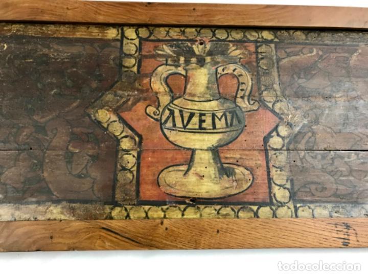 Arte: MAGNIFICA PAREJA DE ARTESONADOS POLICROMADOS GÓTICOS TABLA GÓTICA ARTESONADO SIGLO XIV XV - Foto 10 - 206503690