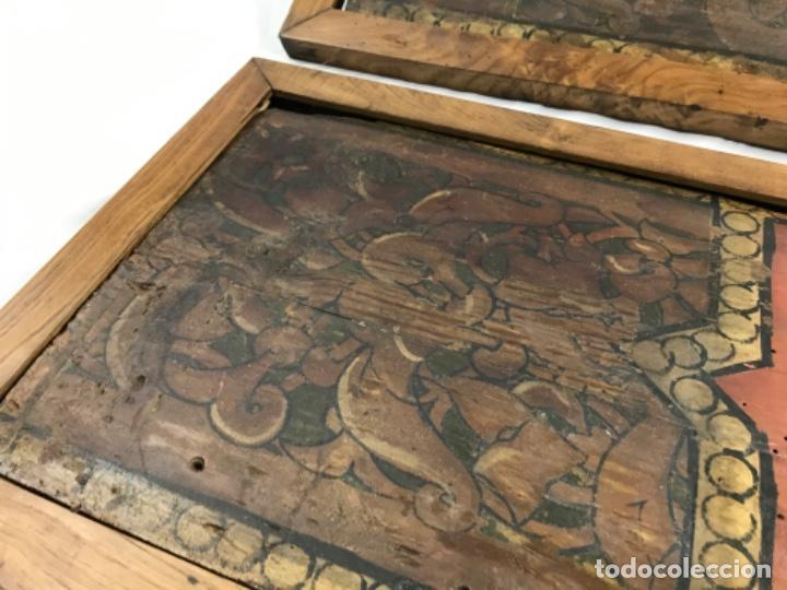 Arte: MAGNIFICA PAREJA DE ARTESONADOS POLICROMADOS GÓTICOS TABLA GÓTICA ARTESONADO SIGLO XIV XV - Foto 15 - 206503690
