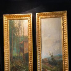 Arte: PAREJA DE ESCALETAS ÓLEO SOBRE LIENZO F. MARTIN 1889. Lote 206573351