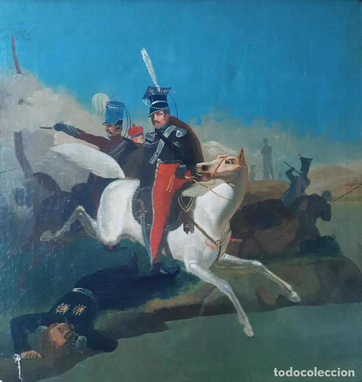 Arte: Escuela Francesa. Gran Oleo sobre Lienzo. Representa la muerte del Príncipe Poniatowski 1813 - Foto 2 - 206755152