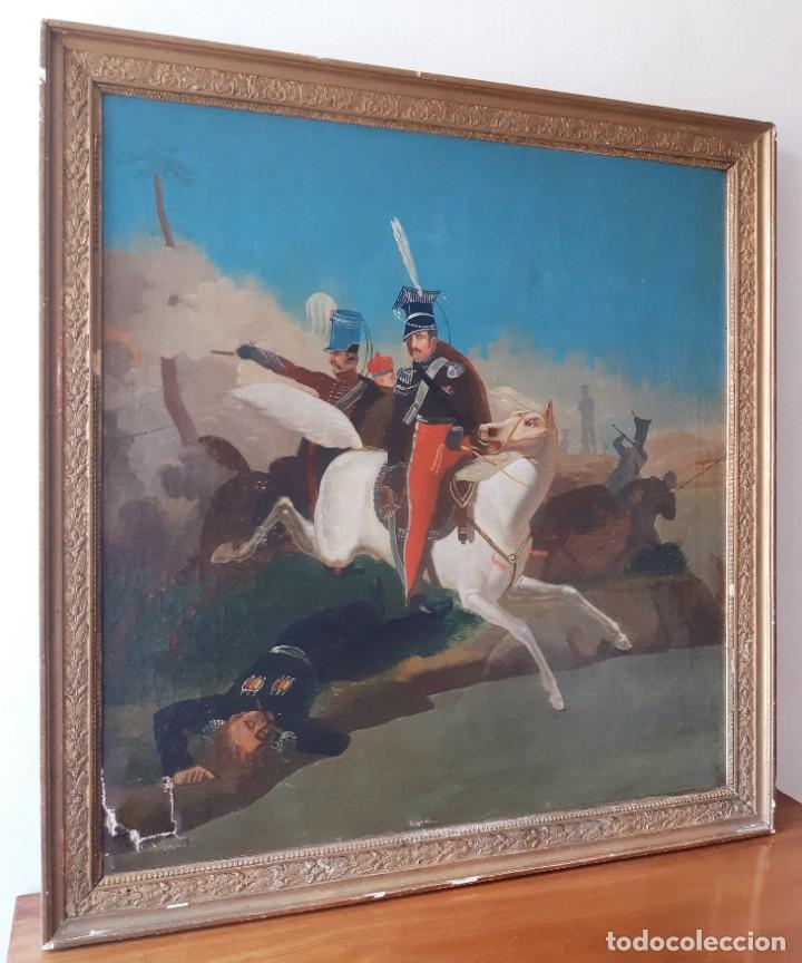 Arte: Escuela Francesa. Gran Oleo sobre Lienzo. Representa la muerte del Príncipe Poniatowski 1813 - Foto 3 - 206755152