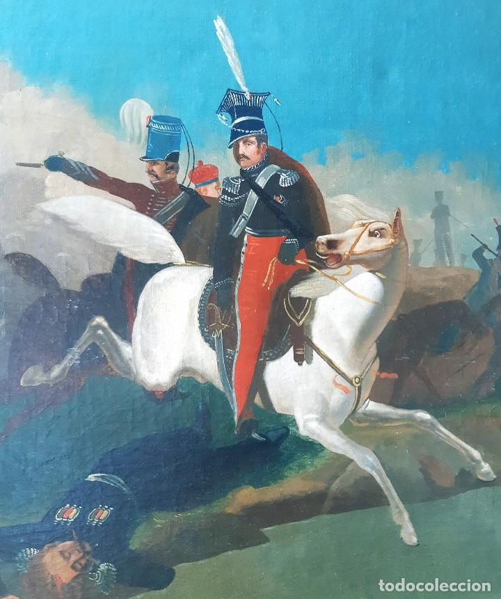 Arte: Escuela Francesa. Gran Oleo sobre Lienzo. Representa la muerte del Príncipe Poniatowski 1813 - Foto 4 - 206755152