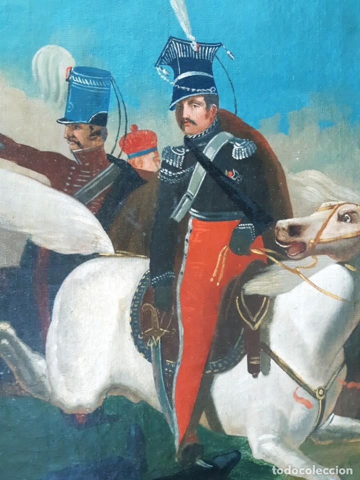 Arte: Escuela Francesa. Gran Oleo sobre Lienzo. Representa la muerte del Príncipe Poniatowski 1813 - Foto 5 - 206755152