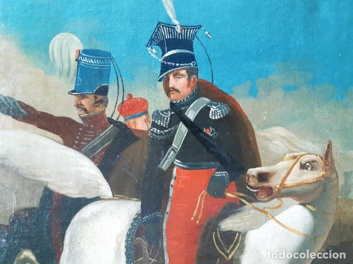Arte: Escuela Francesa. Gran Oleo sobre Lienzo. Representa la muerte del Príncipe Poniatowski 1813 - Foto 6 - 206755152