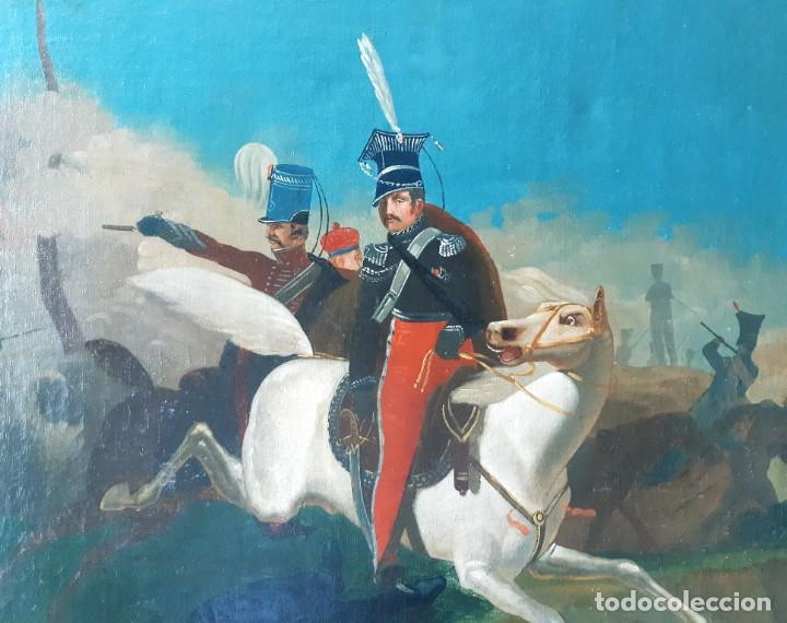 Arte: Escuela Francesa. Gran Oleo sobre Lienzo. Representa la muerte del Príncipe Poniatowski 1813 - Foto 7 - 206755152