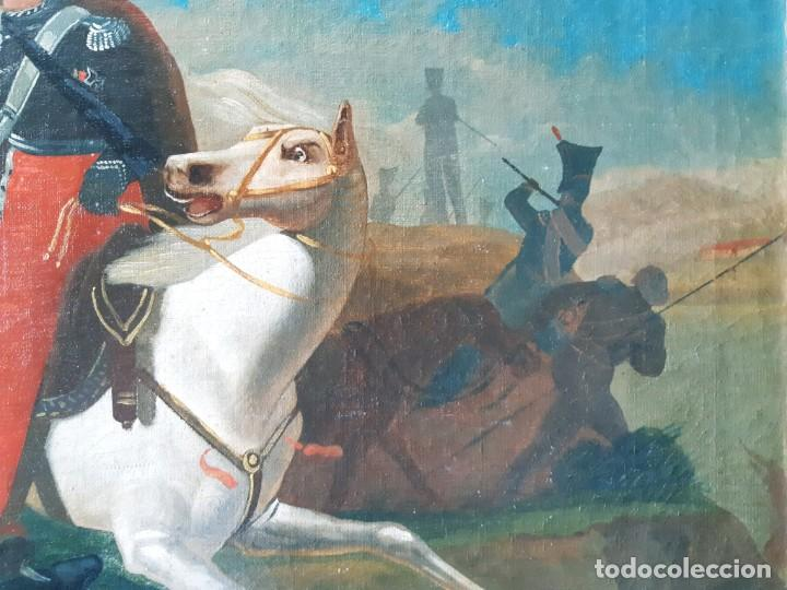 Arte: Escuela Francesa. Gran Oleo sobre Lienzo. Representa la muerte del Príncipe Poniatowski 1813 - Foto 8 - 206755152