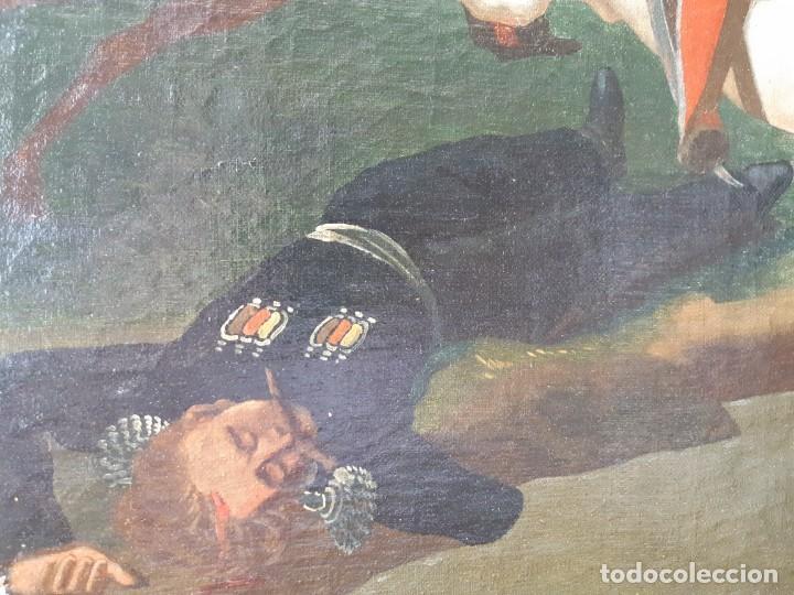 Arte: Escuela Francesa. Gran Oleo sobre Lienzo. Representa la muerte del Príncipe Poniatowski 1813 - Foto 9 - 206755152