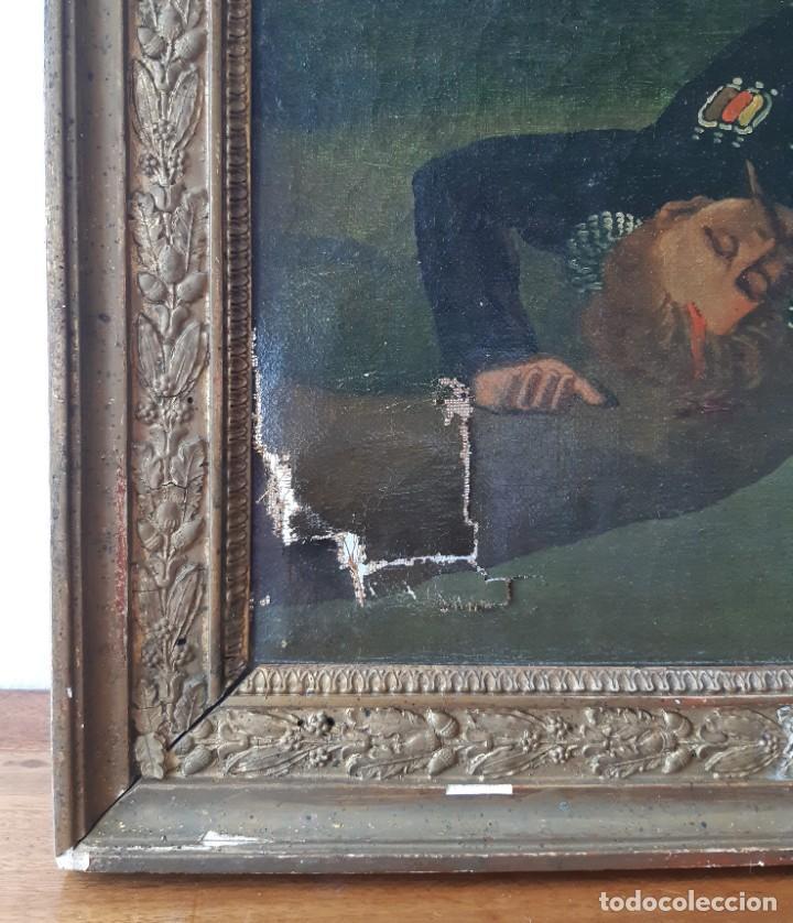 Arte: Escuela Francesa. Gran Oleo sobre Lienzo. Representa la muerte del Príncipe Poniatowski 1813 - Foto 11 - 206755152