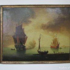 Arte: BONITA PINTURA AL ÓLEO SOBRE TELA - BARCOS, VELEROS - ESCUELA INGLESA - S. XVIII. Lote 206789837
