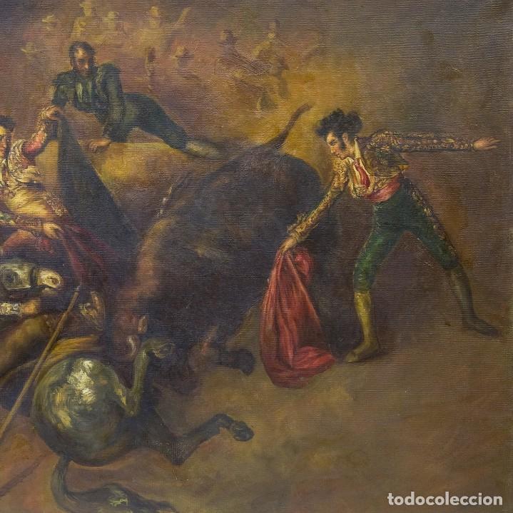 "Arte: ATRIBUIDO A EUGENIO LUCAS VILLAAMIL. Óleo sobre lienzo. """"Escena Taurina"" - Foto 2 - 206803848"
