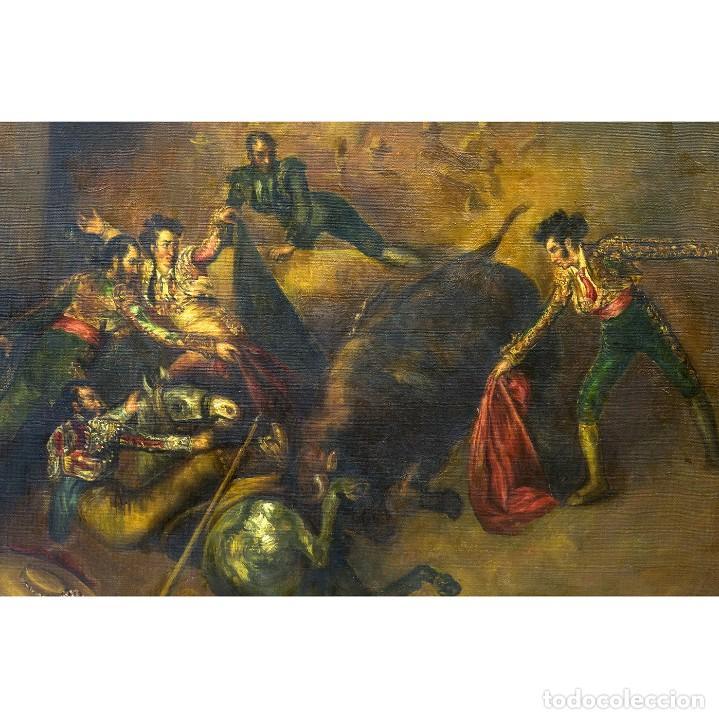 "Arte: ATRIBUIDO A EUGENIO LUCAS VILLAAMIL. Óleo sobre lienzo. """"Escena Taurina"" - Foto 3 - 206803848"