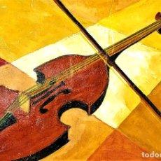 Arte: VIOLÍN ABSTRACTO. ÓLEO SOBRE CARTÓN. ANÓNIMO. ESPAÑA. CIRCA 1920. Lote 206970205