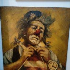 Arte: BONITO OLEO DE UN PAYASO, FIRMA SABATE. 62CM X 50CM. Lote 207003171