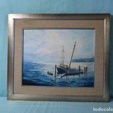 Arte: CUADRO MARINO QUE EVOCA EL COLOR AZUL DEL MAR. A SEA PICTURE WHICH EVOKES ALL THE BLUES OF THE SEA.. Lote 207024161