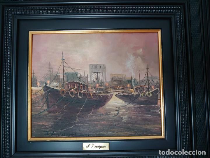 ÓLEO SOBRE LIENZO BARCAS PESQUERAS JOSEP VERDAGUER I COMA (1923-2008) (Arte - Pintura - Pintura al Óleo Contemporánea )