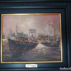 Arte: ÓLEO SOBRE LIENZO BARCAS PESQUERAS JOSEP VERDAGUER I COMA (1923-2008). Lote 207039053