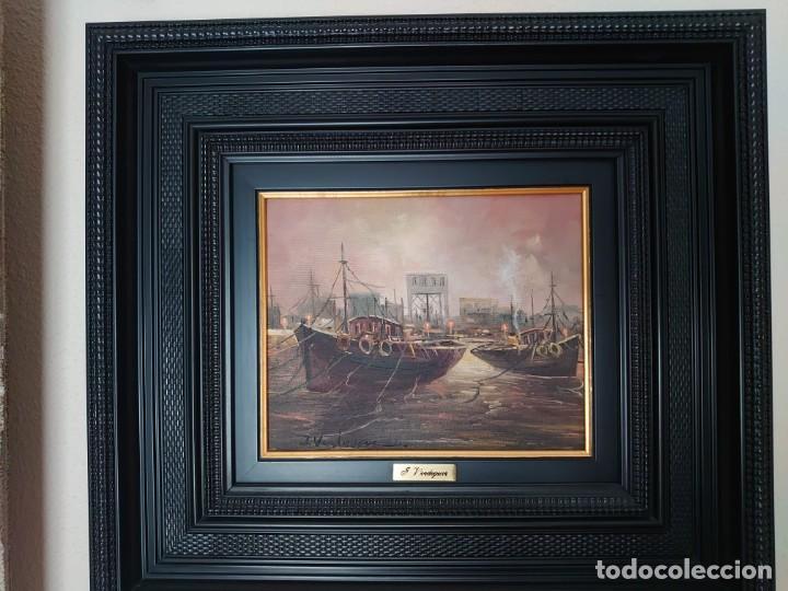 Arte: ÓLEO SOBRE LIENZO BARCAS PESQUERAS JOSEP VERDAGUER I COMA (1923-2008) - Foto 2 - 207039053