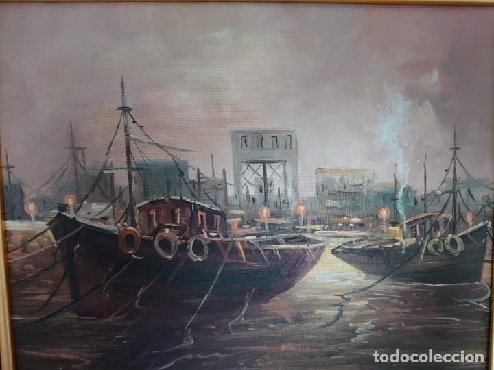 Arte: ÓLEO SOBRE LIENZO BARCAS PESQUERAS JOSEP VERDAGUER I COMA (1923-2008) - Foto 3 - 207039053