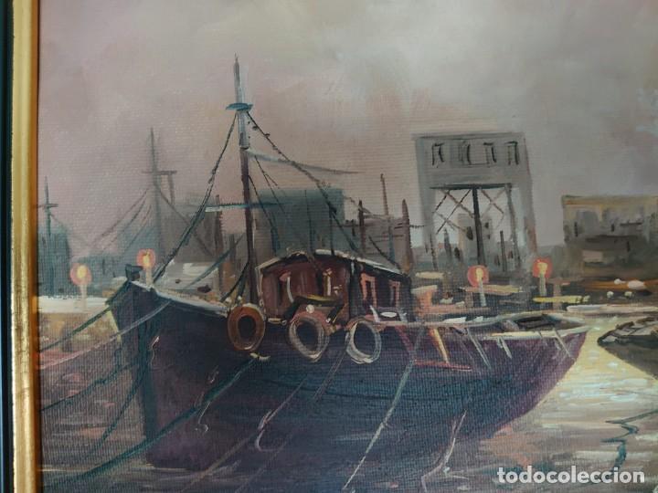 Arte: ÓLEO SOBRE LIENZO BARCAS PESQUERAS JOSEP VERDAGUER I COMA (1923-2008) - Foto 4 - 207039053