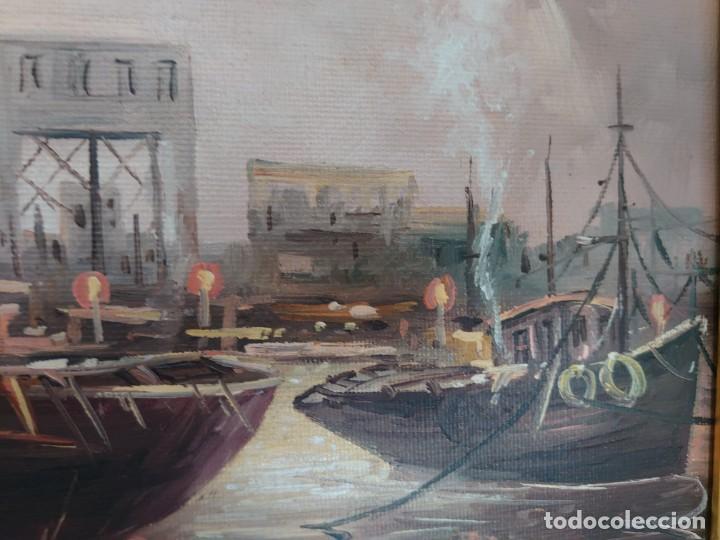 Arte: ÓLEO SOBRE LIENZO BARCAS PESQUERAS JOSEP VERDAGUER I COMA (1923-2008) - Foto 6 - 207039053