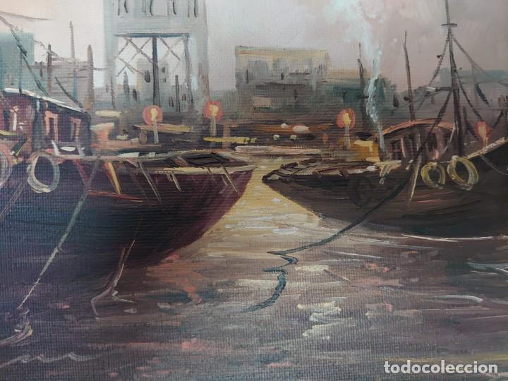 Arte: ÓLEO SOBRE LIENZO BARCAS PESQUERAS JOSEP VERDAGUER I COMA (1923-2008) - Foto 7 - 207039053