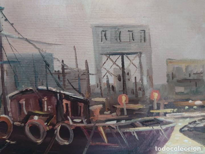 Arte: ÓLEO SOBRE LIENZO BARCAS PESQUERAS JOSEP VERDAGUER I COMA (1923-2008) - Foto 8 - 207039053