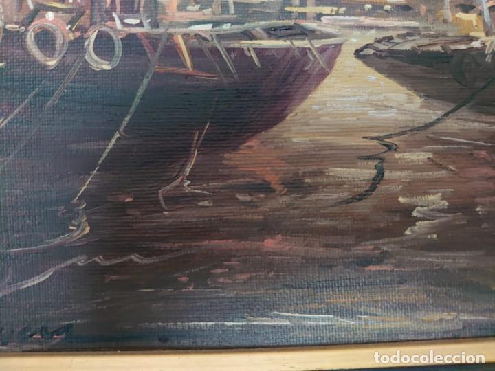 Arte: ÓLEO SOBRE LIENZO BARCAS PESQUERAS JOSEP VERDAGUER I COMA (1923-2008) - Foto 9 - 207039053