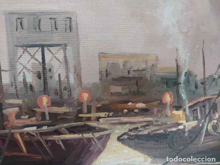 Arte: ÓLEO SOBRE LIENZO BARCAS PESQUERAS JOSEP VERDAGUER I COMA (1923-2008) - Foto 10 - 207039053