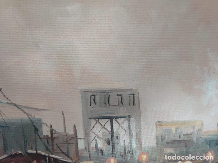 Arte: ÓLEO SOBRE LIENZO BARCAS PESQUERAS JOSEP VERDAGUER I COMA (1923-2008) - Foto 12 - 207039053