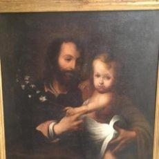 Arte: ESTEBAN MURILLO, BARTOLOMÉ (SEVILLA 1612- 1682), CÍRCULO DE: SAN JOSÉ CON NIÑO. Lote 207072703