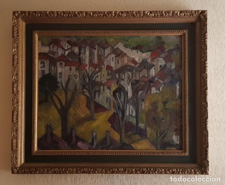 CORTINAS CUADRO OLEO PUEBLO ANDALUZ (Arte - Pintura - Pintura al Óleo Contemporánea )