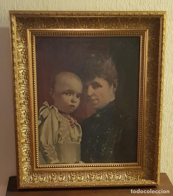 CUADRO RETRATO REGENTE MARÍA CRISTINA Y ALFONSO XIII (Arte - Pintura - Pintura al Óleo Moderna siglo XIX)