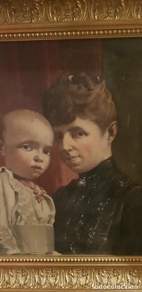 Arte: Cuadro Retrato Regente María Cristina y Alfonso XIII - Foto 2 - 207106607
