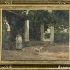 "Arte: FRANCESC TORRESCASSANA SALLARÉS. ÓLEO SOBRE LIENZO. ""VISTA DE UN JARDÍN"". Lote 207109635"