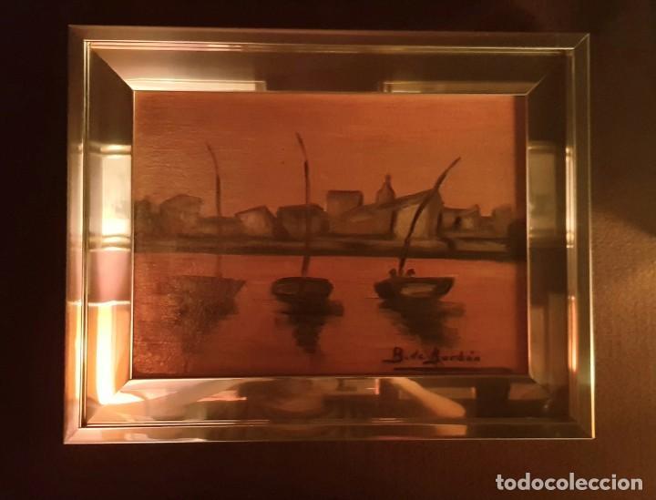 CUADRO PAISAJE PESCADORES FIRMADO POR B.DE BORBÓN (Arte - Pintura - Pintura al Óleo Contemporánea )