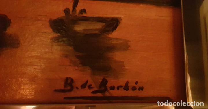 Arte: Cuadro paisaje pescadores firmado por B.de Borbón - Foto 2 - 207118126