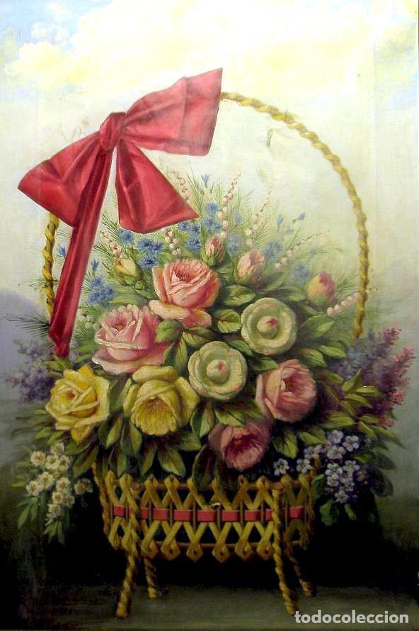 Arte: Bodegón de flores. Cesto de flores con lazo. Finales s. XIX. - Foto 2 - 207140748