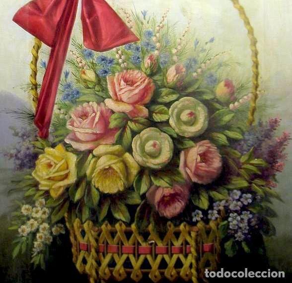 BODEGÓN DE FLORES. CESTO DE FLORES CON LAZO. FINALES S. XIX. (Arte - Pintura - Pintura al Óleo Moderna siglo XIX)