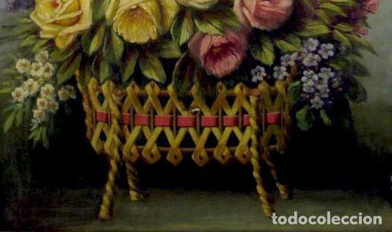 Arte: Bodegón de flores. Cesto de flores con lazo. Finales s. XIX. - Foto 3 - 207140748