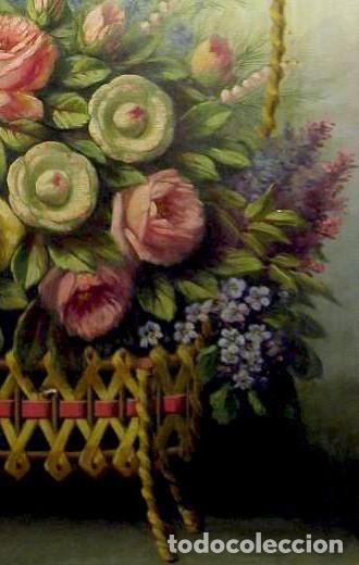 Arte: Bodegón de flores. Cesto de flores con lazo. Finales s. XIX. - Foto 4 - 207140748