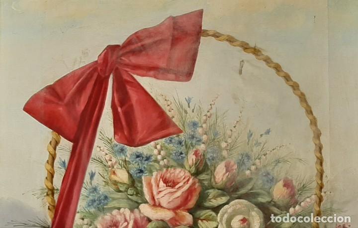 Arte: Bodegón de flores. Cesto de flores con lazo. Finales s. XIX. - Foto 5 - 207140748