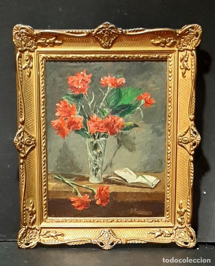 BODEGÓN DE CLAVELES. ENRIQUE REMENTERÍA (1900-1980). (Arte - Pintura - Pintura al Óleo Contemporánea )