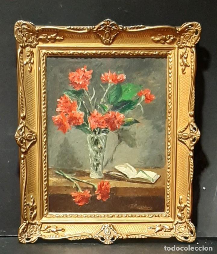 Arte: Bodegón de claveles. Enrique Rementería (1900-1980). - Foto 2 - 207141522