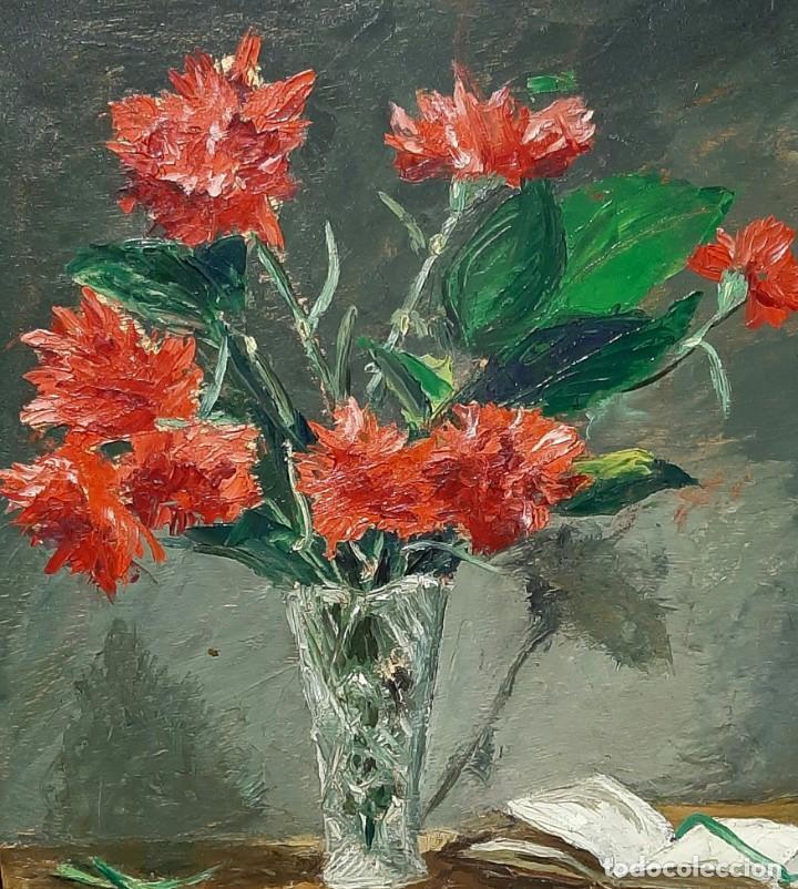 Arte: Bodegón de claveles. Enrique Rementería (1900-1980). - Foto 3 - 207141522