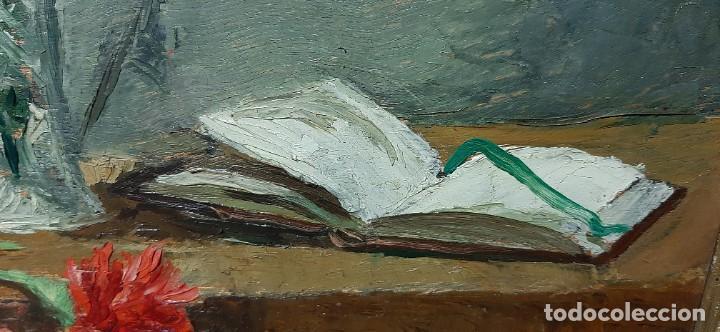 Arte: Bodegón de claveles. Enrique Rementería (1900-1980). - Foto 4 - 207141522
